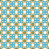 Turquoise and gold small pattern squares