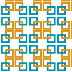 Turquoise gold Interlocking Squares 2