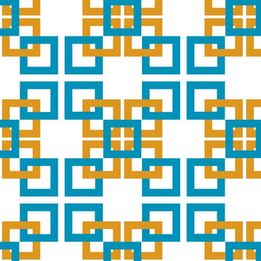 Turquoise and Gold interlocking  squares 3