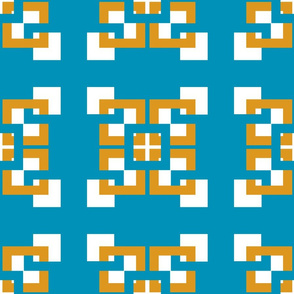 Interlocking Squares abstract Turquoise gold