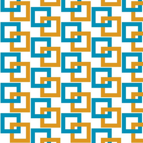 Turquoise and gold interlocking squares