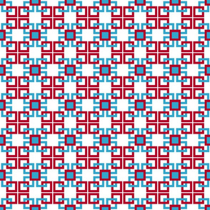 Red, white, turquoise blue interlocking square 5