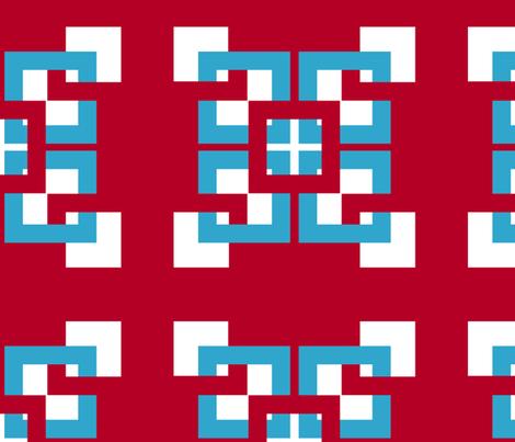 Red White Blue Interlocking Squares 2 Fabric