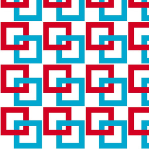 Red, white, turquoise blue interlocking squares 1