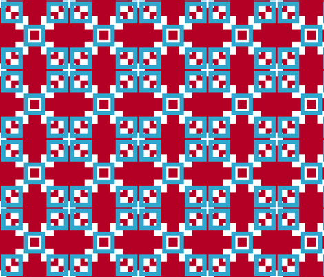 Red, white, turquoise blue interlocking squares series fabric by denisebeverly on Spoonflower - custom fabric
