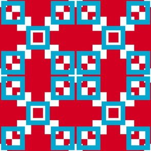 Red, white, turquoise blue interlocking squares series
