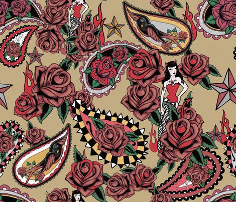 retro tattoo paisley antique khaki  fabric by beesocks on Spoonflower - custom fabric