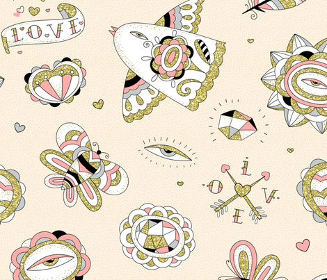 glitter tattoos fabric by elmira_arts on Spoonflower - custom fabric