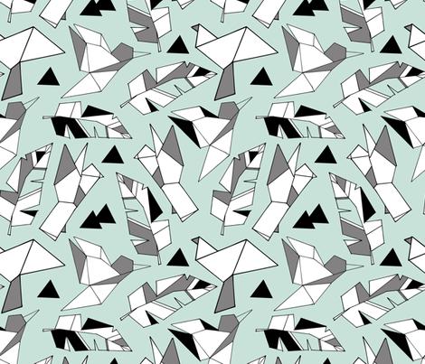 Geometric bird tattoos on mint  fabric by gemmacosgrove-ball on Spoonflower - custom fabric