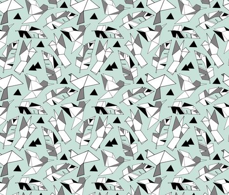Geometric birds and feathers on mint  fabric by gemmacosgroveball on Spoonflower - custom fabric