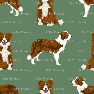 border collie simple dog breed fabric for pet lovers green