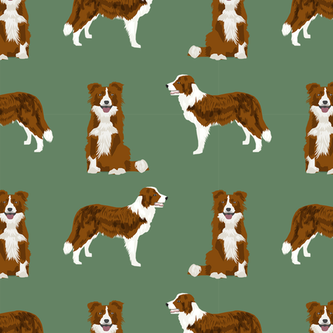 border collie simple dog breed fabric for pet lovers green fabric by petfriendly on Spoonflower - custom fabric
