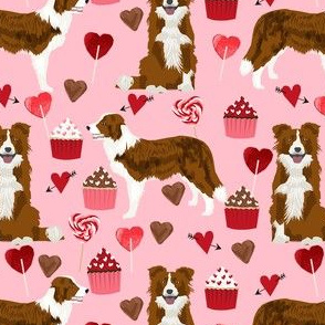 border collie valentines day cupcakes hearts love fabric dog breed pink