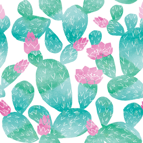 cactus watercolor botanical desert southwest cacti fabric white bright blue fabric by charlottewinter on Spoonflower - custom fabric