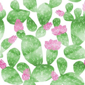 cactus watercolor botanical desert southwest cacti fabric white bright green