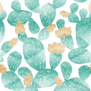 cactus watercolor botanical desert southwest cacti fabric white turquoise