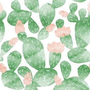 cactus watercolor botanical desert southwest cacti fabric white light green