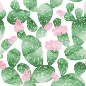 cactus watercolor botanical desert southwest cacti fabric white green