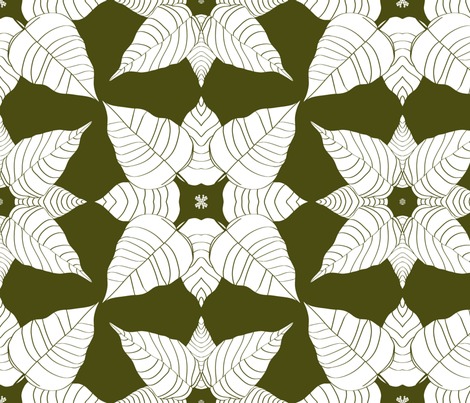 White Petals on green fabric by house_of_heasman on Spoonflower - custom fabric