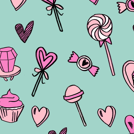 valentines candy // cute chocolates fabric hearts love valentines day light green fabric by andrea_lauren on Spoonflower - custom fabric