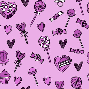 valentines candy // cute chocolates fabric hearts love valentines day purple