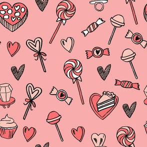valentines candy // cute chocolates fabric hearts love valentines day pink