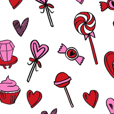 valentines candy // cute chocolates fabric hearts love valentines day white red fabric by andrea_lauren on Spoonflower - custom fabric