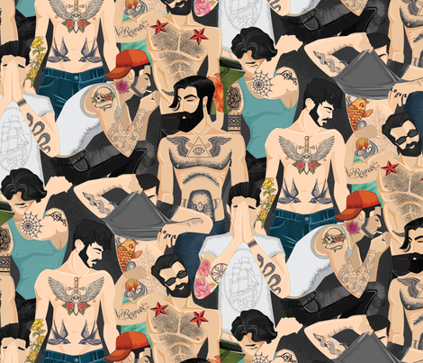 hot guys with tattoos fabric by michaelzindell on Spoonflower - custom fabric