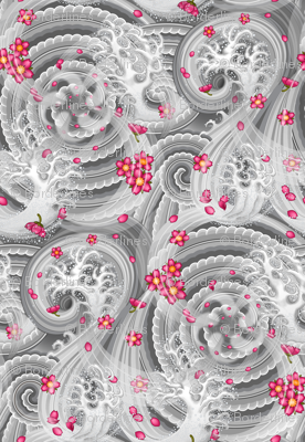 ★ SAKURA ★ Pink Cherry Blossom Japanese Tattoo / Light Gray - Large Scale / Collection : Irezumi - Japanese Tattoo Prints