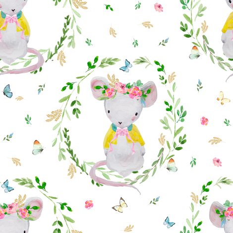 "8"" LILA THE MOUSE SPRINGTIME fabric by shopcabin on Spoonflower - custom fabric"