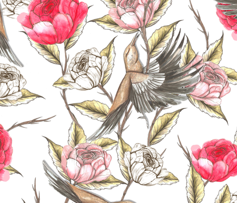 Nightingale and the rose tattoo fabric by suzyspellbound on Spoonflower - custom fabric