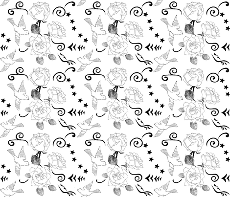 Birds and Roses fabric by amanda_jane_textiles on Spoonflower - custom fabric