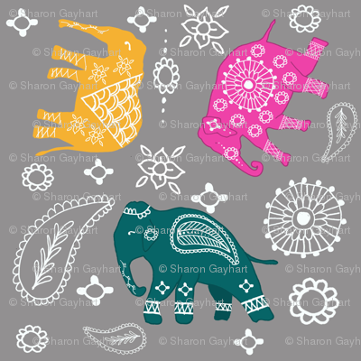 Mehndi elephants