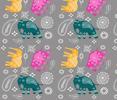 Mehndi elephants fabric by sharongayhart on Spoonflower - custom fabric