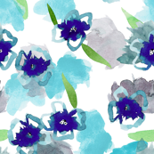blue watercolor floral