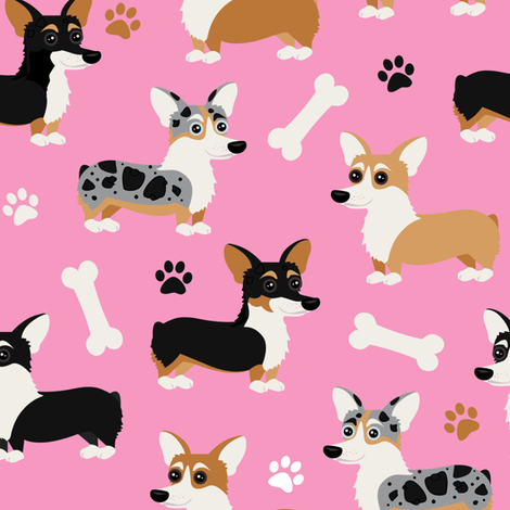 Corgi Dogs Pink fabric by jannasalak on Spoonflower - custom fabric