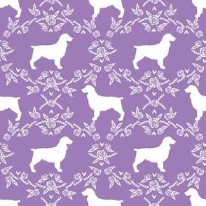 Boykin spaniel floral silhouette dog breed fabric purple