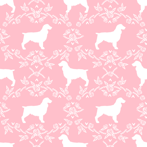 Boykin spaniel floral silhouette dog breed fabric pink fabric by petfriendly on Spoonflower - custom fabric