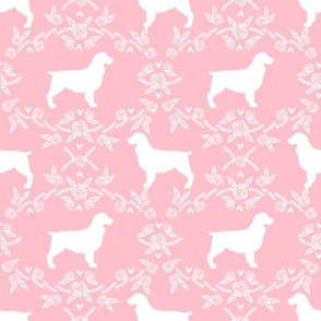 Boykin spaniel floral silhouette dog breed fabric pink