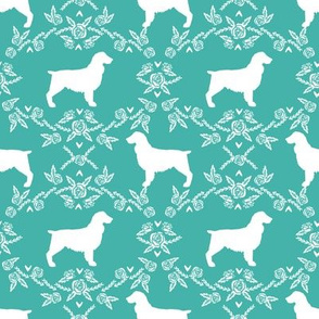 Boykin spaniel floral silhouette dog breed fabric turquoise