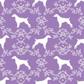 brittany spaniel floral silhouette dog breed fabric purple