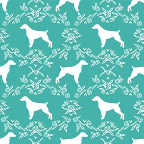 brittany spaniel floral silhouette dog breed fabric turquoise