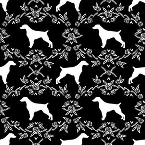 brittany spaniel floral silhouette dog breed fabric black and white