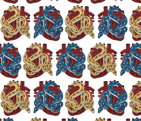 Heart and Snake Tattoo fabric by pond_ripple on Spoonflower - custom fabric