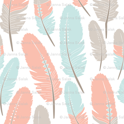Tribal Feathers Pattern Apricot Blue Grey