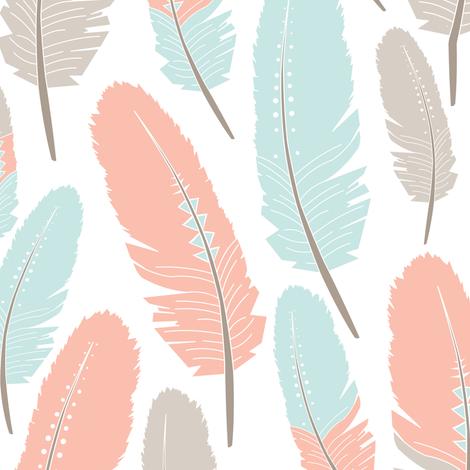 Tribal Feathers Pattern Apricot Blue Grey fabric by jannasalak on Spoonflower - custom fabric