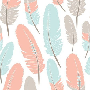 Tribal Feathers Pattern Apricot Blue Grey