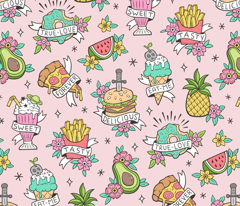 Food Tattoos  fabric by caja_design on Spoonflower - custom fabric