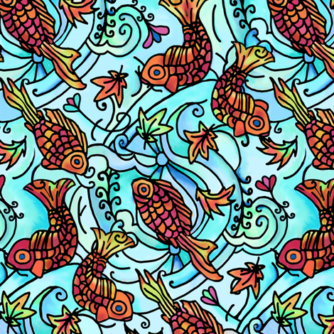 Maple Leaves and Koi Tattoo fabric by elramsay on Spoonflower - custom fabric