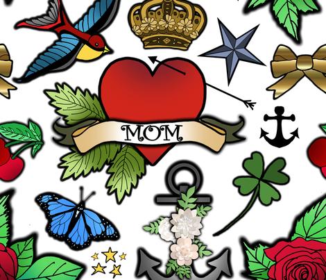 Vintage Tattoos fabric by irishvikingdesigns on Spoonflower - custom fabric
